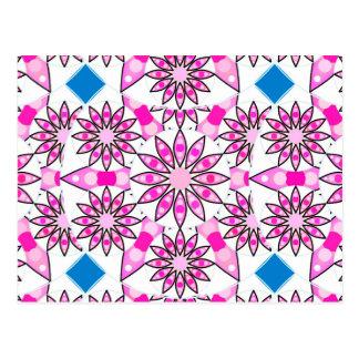 Cartão Postal Teste padrão da mandala, rosa quente, preto e