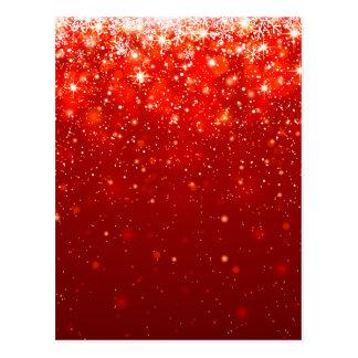 Cartão Postal teste padrão de brilho feliz vermelho,