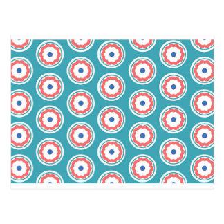 Cartão Postal teste padrão de flor do círculo
