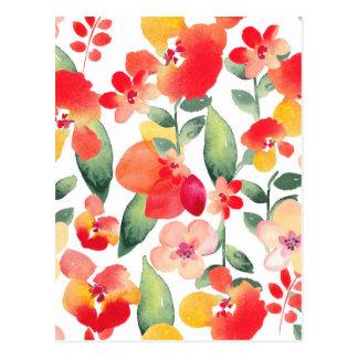 Cartão Postal Teste padrão de flores pintado