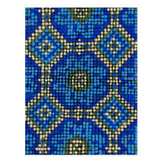 Cartão Postal Teste padrão de mosaico azul do vintage