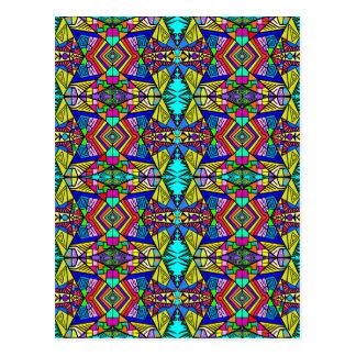 Cartão Postal Teste padrão de Psycedellic - all over - azul