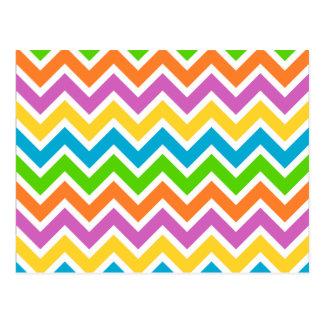 Cartão Postal Teste padrão de ziguezague colorido