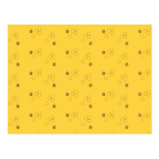 Cartão Postal Teste padrão do favo de mel da abelha