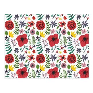 Cartão Postal Teste padrão floral do Watercolour
