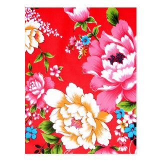 Cartão Postal Teste padrão floral Punchy