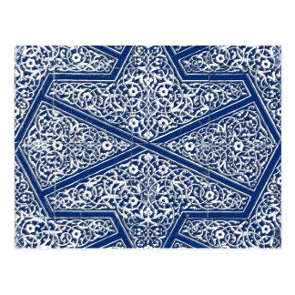 Cartão Postal Teste padrão persa do azulejo - azuis cobaltos e