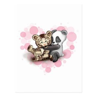 Cartão Postal Tigre e panda