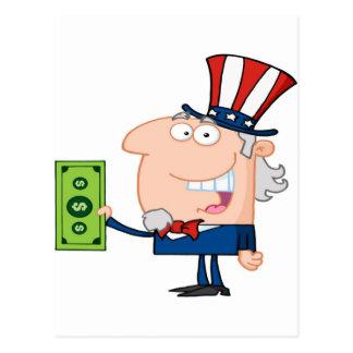 Cartão Postal Tio Sam com guardarar uma nota de dólar