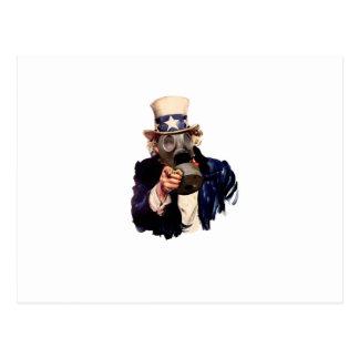 Cartão Postal Tio Sam - com máscara de gás!  Apocalipse do