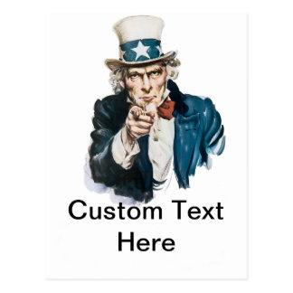 Cartão Postal Tio Sam eu quero-o personalizo com seu texto