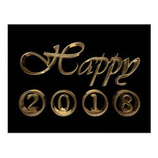 Cartão Postal Tipografia preta elegante do ouro do feliz ano