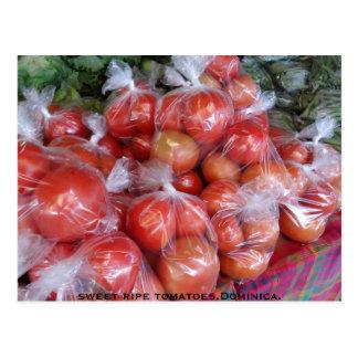 Cartão Postal tomates maduros doces, Dominica.