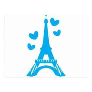 Cartão Postal Torre Eiffel azul com corações do amor