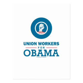 Cartão Postal Trabalhadores de união para Obama