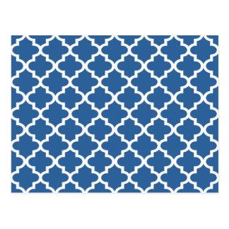 Cartão Postal Treliça marroquina do azulejo dos azuis cobaltos