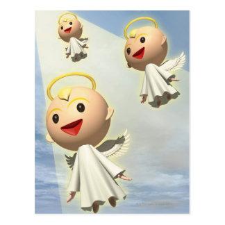 Cartão Postal Três anjos, CG, 3D, ilustração, baixo ângulo
