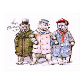Cartão Postal Três ursos polares de encantamento