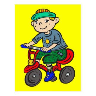 Cartão Postal Triciclo da equitação do menino