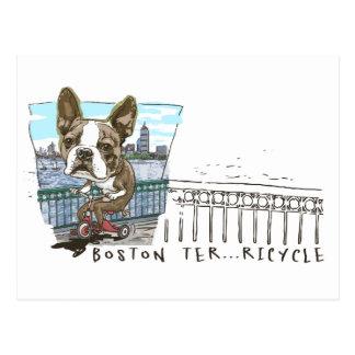 Cartão Postal Triciclo de Boston Terrier
