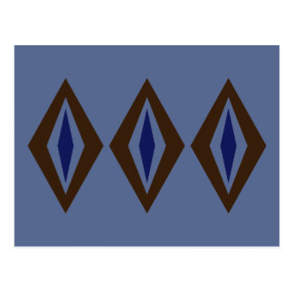 Cartão Postal Trio retro do diamante de Brown & de cobalto
