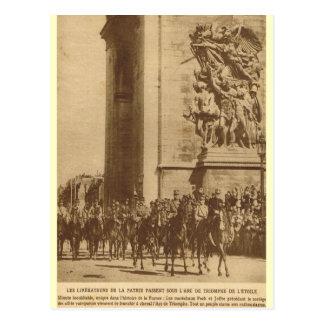 Cartão Postal Tropas aliadas em Paris, o 14 de julho de 1919
