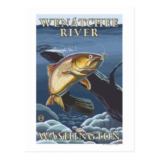Cartão Postal Truta que pesca o secção transversal - rio de