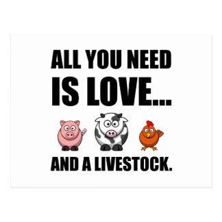 Cartão Postal Tudo que você precisa é amor e rebanhos animais