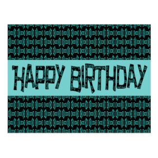 Cartão Postal Turquesa Brithday feliz do feliz aniversario