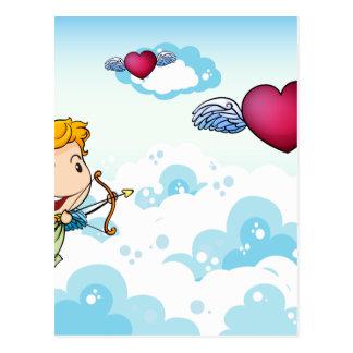 Cartão Postal Um céu com um anjo e coração com asas