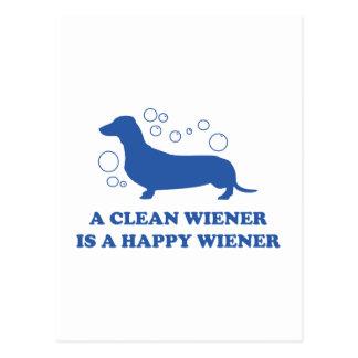 Cartão Postal Um Wiener limpo é um Wiener feliz