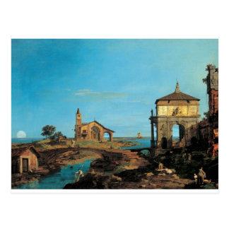 Cartão Postal Uma ilha na lagoa com uma entrada e uma igreja