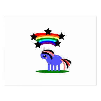 Cartão Postal Unicórnio de Wimsical e arco-íris feliz do hippy