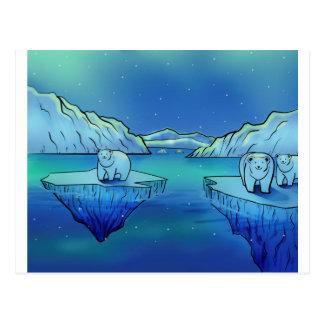 Cartão Postal Ursos polares e aurora boreal
