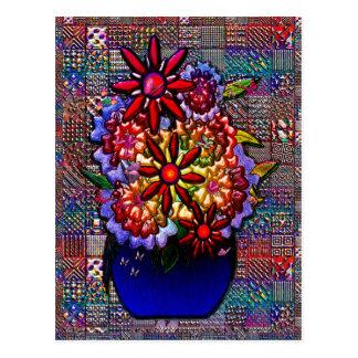 Cartão Postal Vaso dos azuis cobaltos com flores