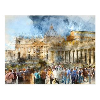 Cartão Postal Vaticano da basílica de St Peters em Roma Italia