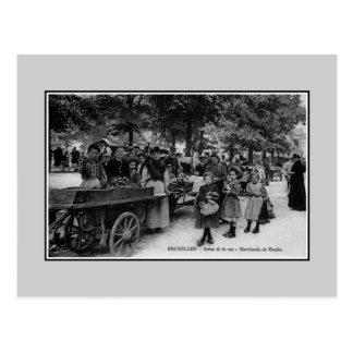 Cartão Postal Vendedores dos mexilhões de Bruxelas dos 1900s do