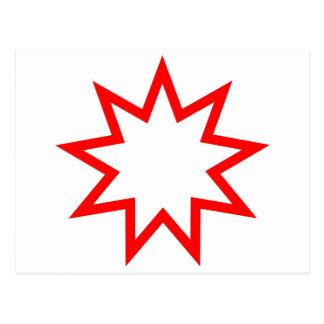 Cartão Postal Vermelho da estrela de Bahai