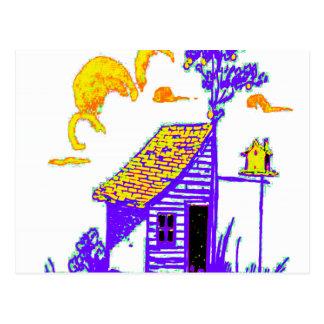 Cartão Postal vertente, árvore, birdhouse, flores