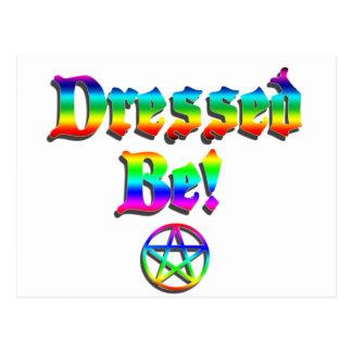 Cartão Postal Vestido seja arco-íris