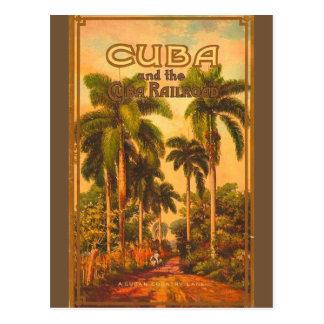 Cartão Postal Viagem cubano do vintage - estrada de ferro de