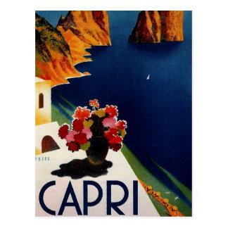 Cartão Postal Viagem de Capri Italia do vintage