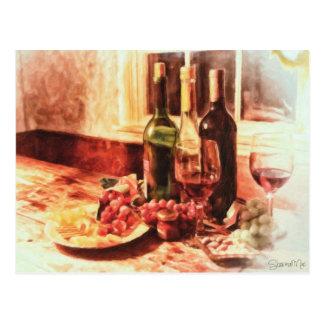 Cartão Postal Vinho na mesa pelo Mac de Shawna