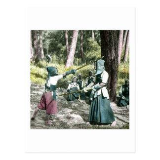 Cartão Postal Vintage antigo Japão da arte marcial de Kendo do