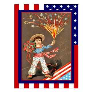 Cartão Postal Vintage da réplica 4ns julho, foguetes das flores