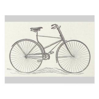Cartão Postal Vintage, descrição antiquado da bicicleta