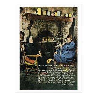 Cartão Postal Vintage France, pessoas adultas pela lareira
