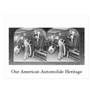 Cartão Postal Vintage Stereoview nossa herança do automóvel