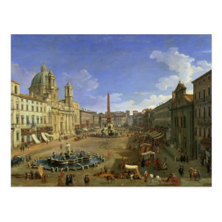 Cartão Postal Vista da praça Navona, Roma