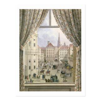 Cartão Postal Vista do Freyung, Viena, 1825 (gouache no pape